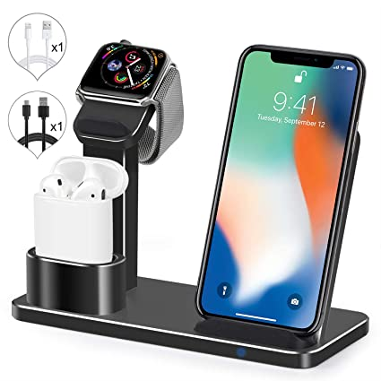 Wireless Charger Watch Stand, SENZLE 3 in 1 Wireless Charger Charging Stand Dock Station Compatible with iWatch Series 4/3/2/1/ AirPods/iPhone ...