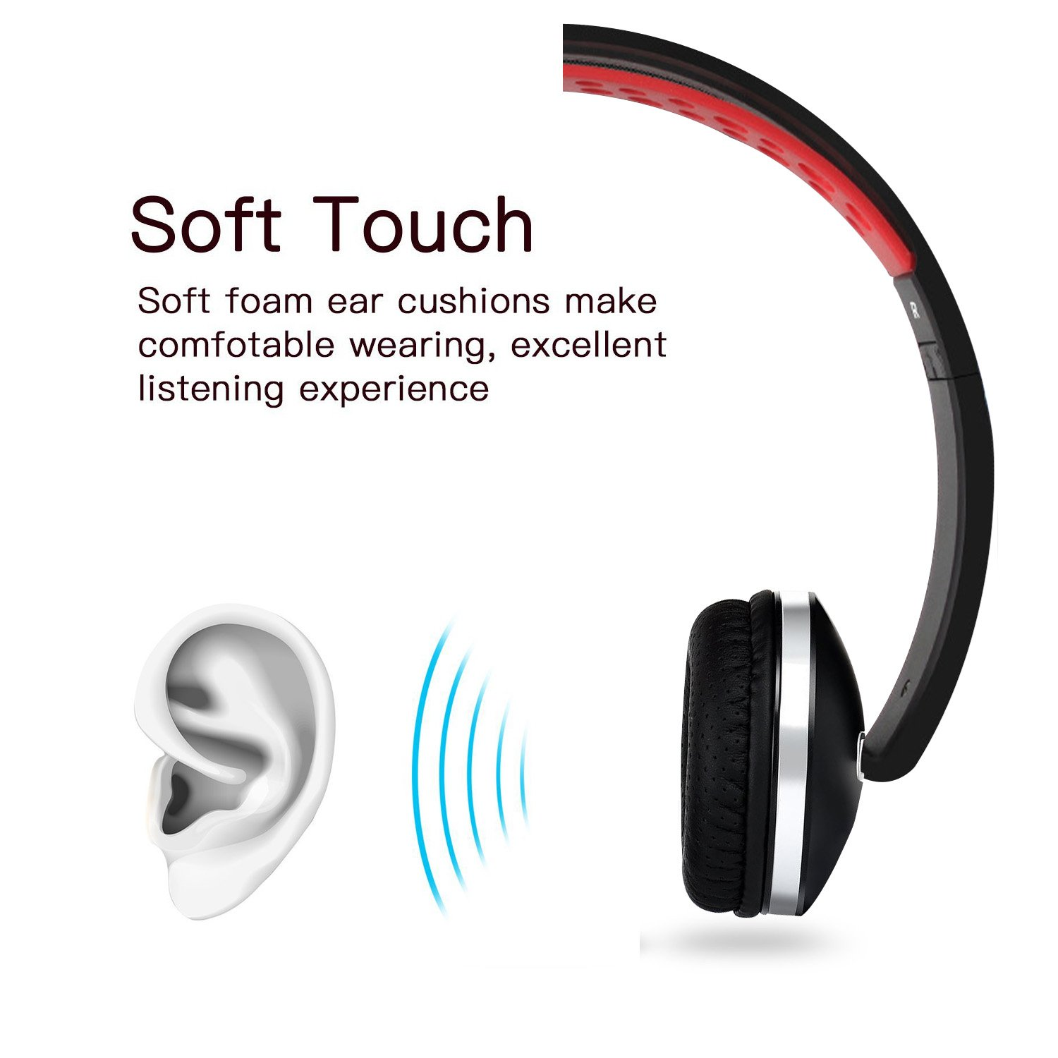 Over Ear Headphones, Lightweight Foldable Headphones with Microphone Stereo Bass Adjustable PC Headset Wired Flat Cord Headphone with Volume Control for Sport Workout Gym for Smartphones Laptop by Fujack (Image #6)