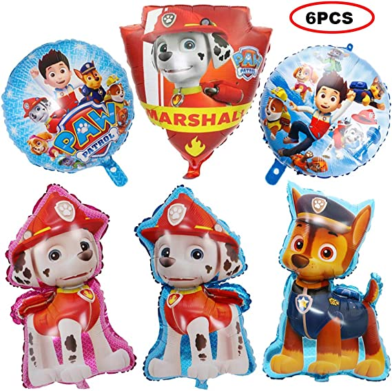 Amazon.com: Bsstr 6 globos de la Patrulla Canina para fiesta ...