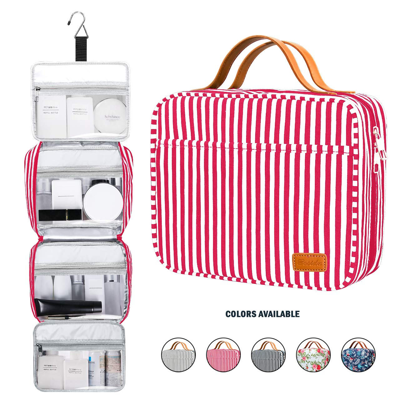 Hanging Travel Toiletry Bag,Large Capacity Cosmetic Toiletry Travel Organizer for Women/Men with 4 Compartments & 1 Sturdy Hook,Perfect for Travel/Daily Use (Red & White Striped)