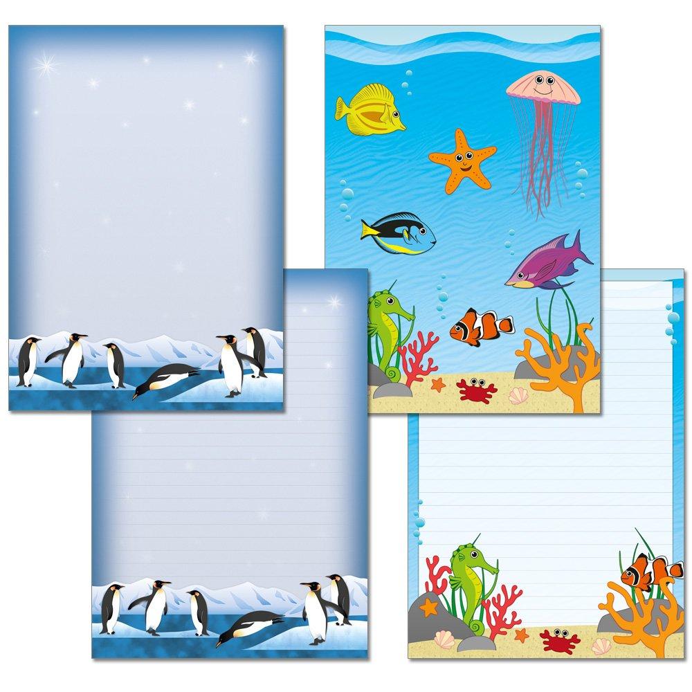 2 pezzi –  Blocchi di scrittura 1 X sott' acqua mondo 1 X nette pinguini Je 25 fogli formato DIN A4 con copertina 7260 + 7430 Konzept-G 7260+7430