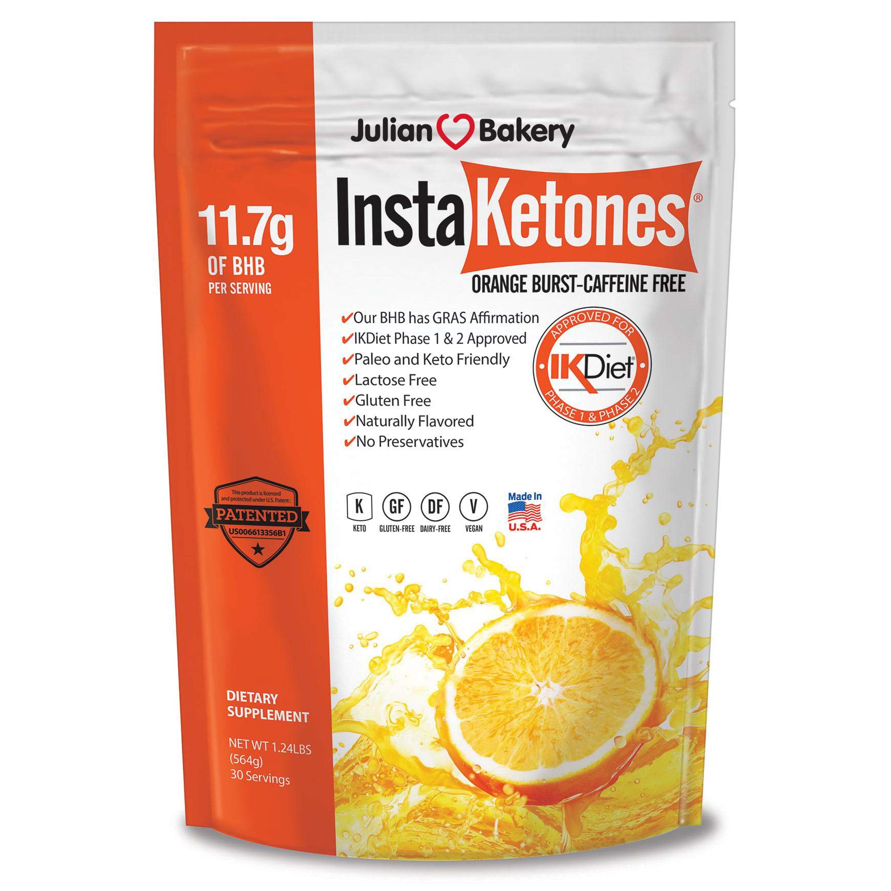 InstaKetones Orange Burst 11.7g GoBHB Per Scoop (Caffeine Free) (30 Servings) Exogenous Ketones 1.24 lbs