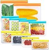 Reusable Storage Bags,10 Pack BPA Free PEVA Resuable Freezer Bags,Reusable Gallon Bags, Reusable Sandwish Bags, Silicone…