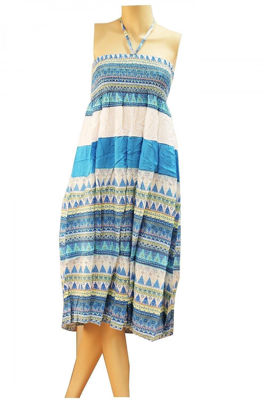 Damen Sommerkleid Strandkleid Boho Kleid Streifen Sommerrock Lang Maxi Rock Bohemia mit Breitem Bund