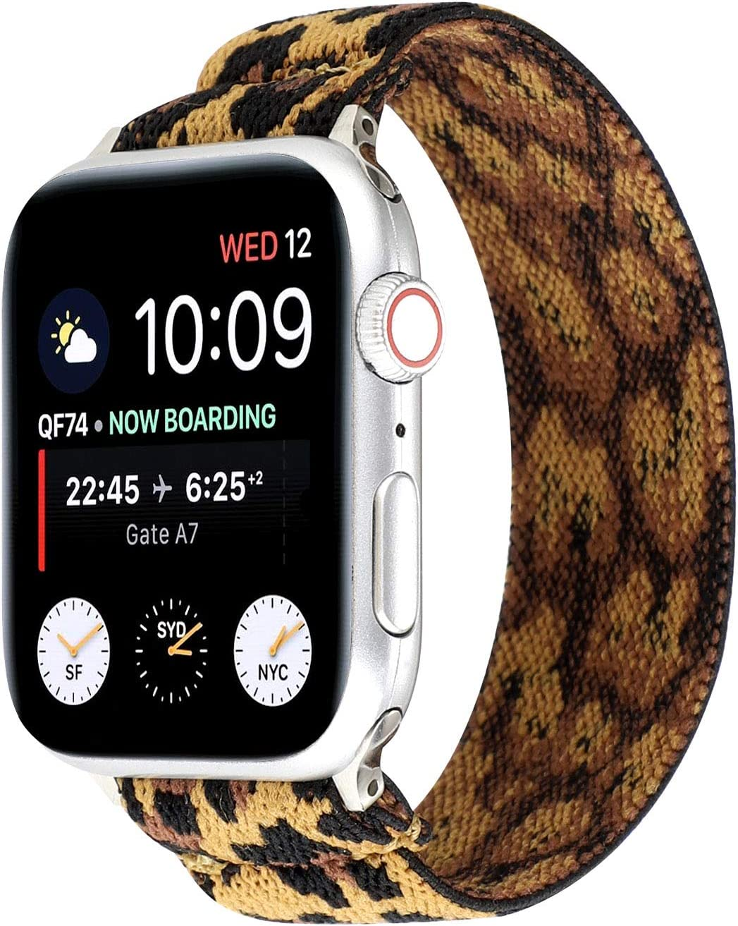OnederHome Stretchy Sport Loop Strap Compatible for Apple Watch Band 38mm 40mm 42mm 44mm iWatch Series 6/SE/5/4/3/2/1 Stretch Elastics Wristbelt (Leopard, 42/44mm for Normal/Large Wrist)