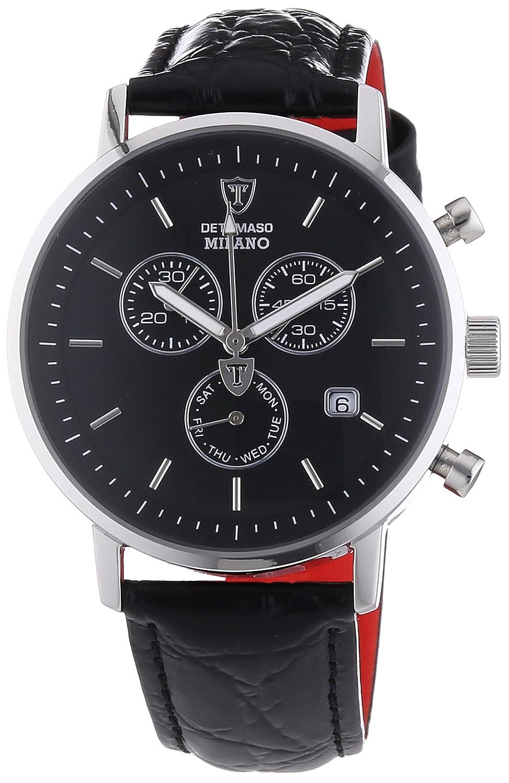 DETOMASO Herren-Armbanduhr Milano mit silbernem Edelstahl-GehÄuse und schwarzem Zifferblatt. Elegante Quarz Herren-