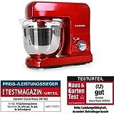 Klarstein Gracia robot de cocina multifunción (1.3 HP, bol de acero inoxidable de 5 l, 3 accesorios para batir y amasar) - rojo