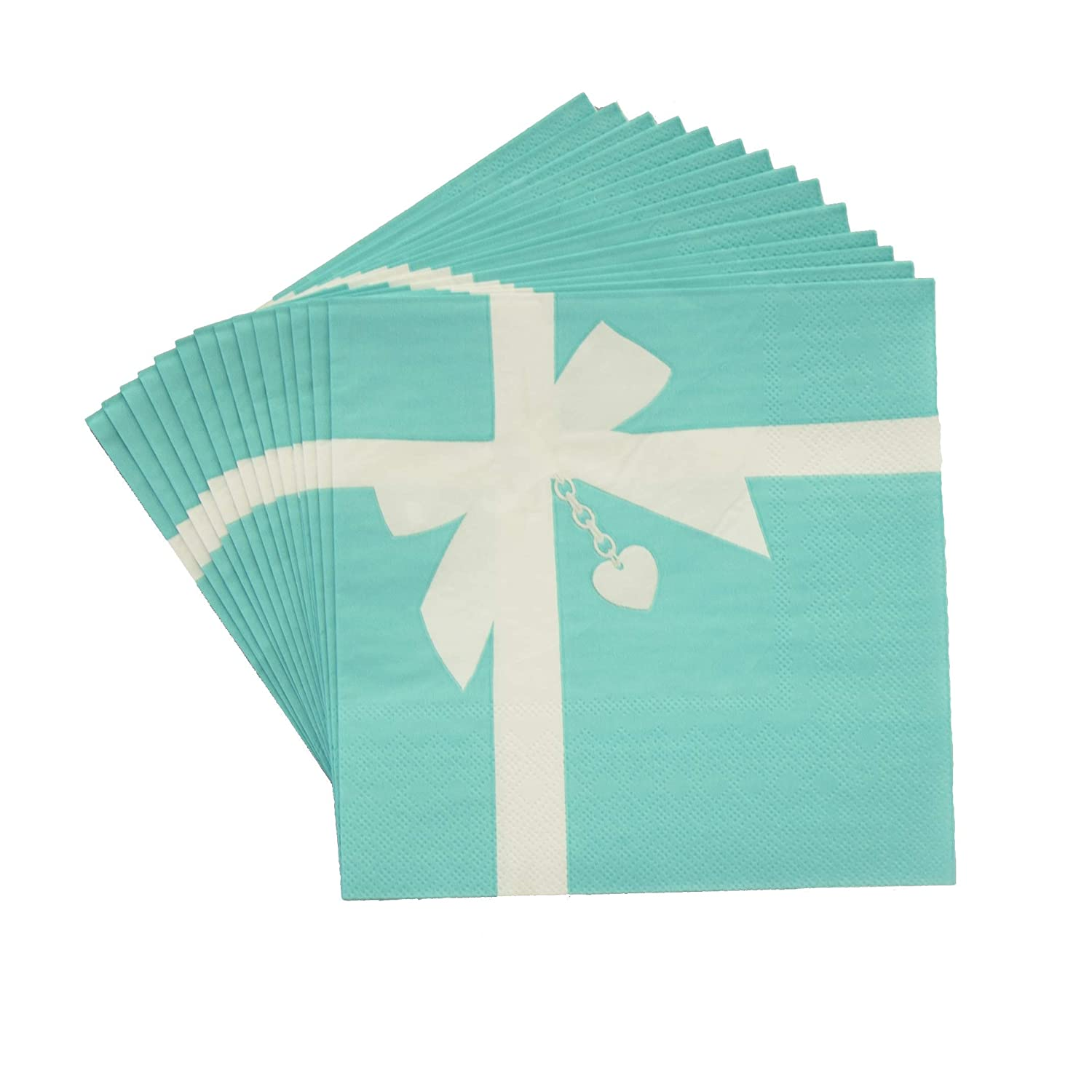 16 Pack, Light Blue by Havercamp Gift Box with Pendant Luncheon Napkins