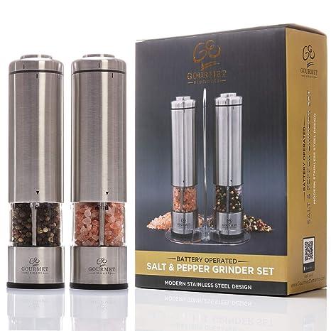 Amazon.com: Juego de molinillos de sal y pimienta eléctricos ...