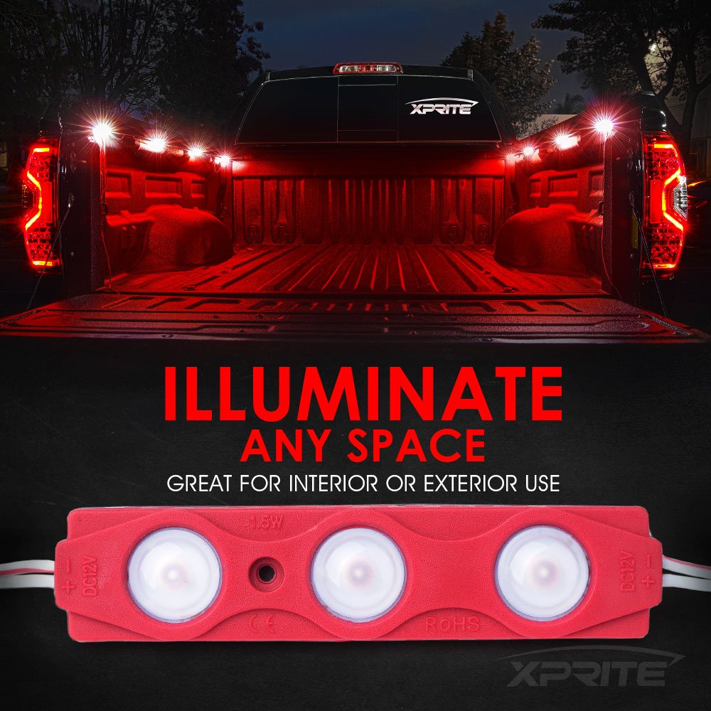 8 PCs Rail Lights 24 LEDs Cargo Truck Pickup Bed Off Road Under Car Xprite Led Rock Light for Bed Truck Side Marker LED Rock Lighting Kit w//Switch White Foot Wells