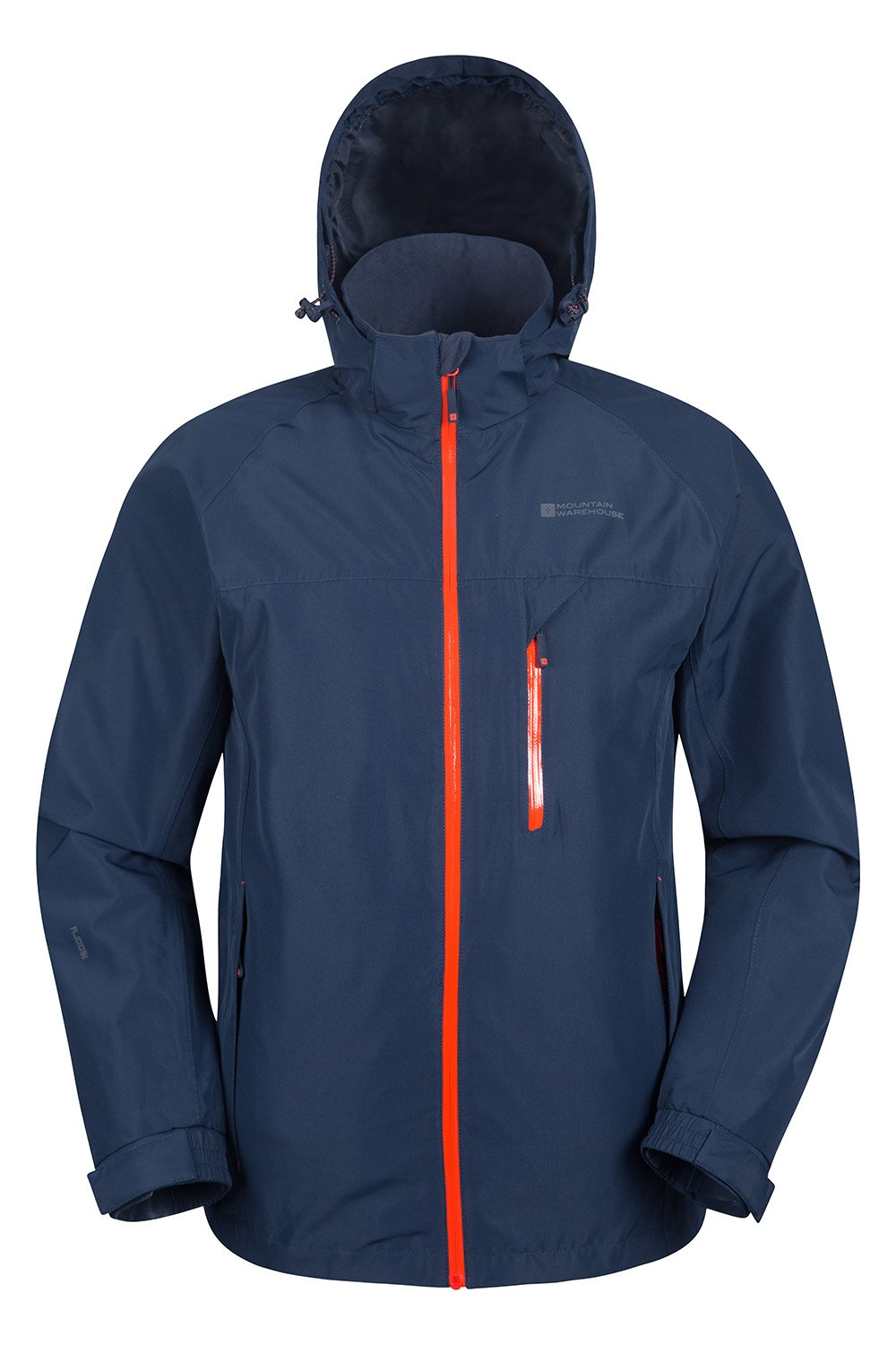 Mountain Warehouse Brisk Extreme Mens Waterproof Jacket - Adjustable Cuffs & Hood, Taped Seams Rain Coat, Breathable Winter Jacket - Ideal For Camping in Cold Weather