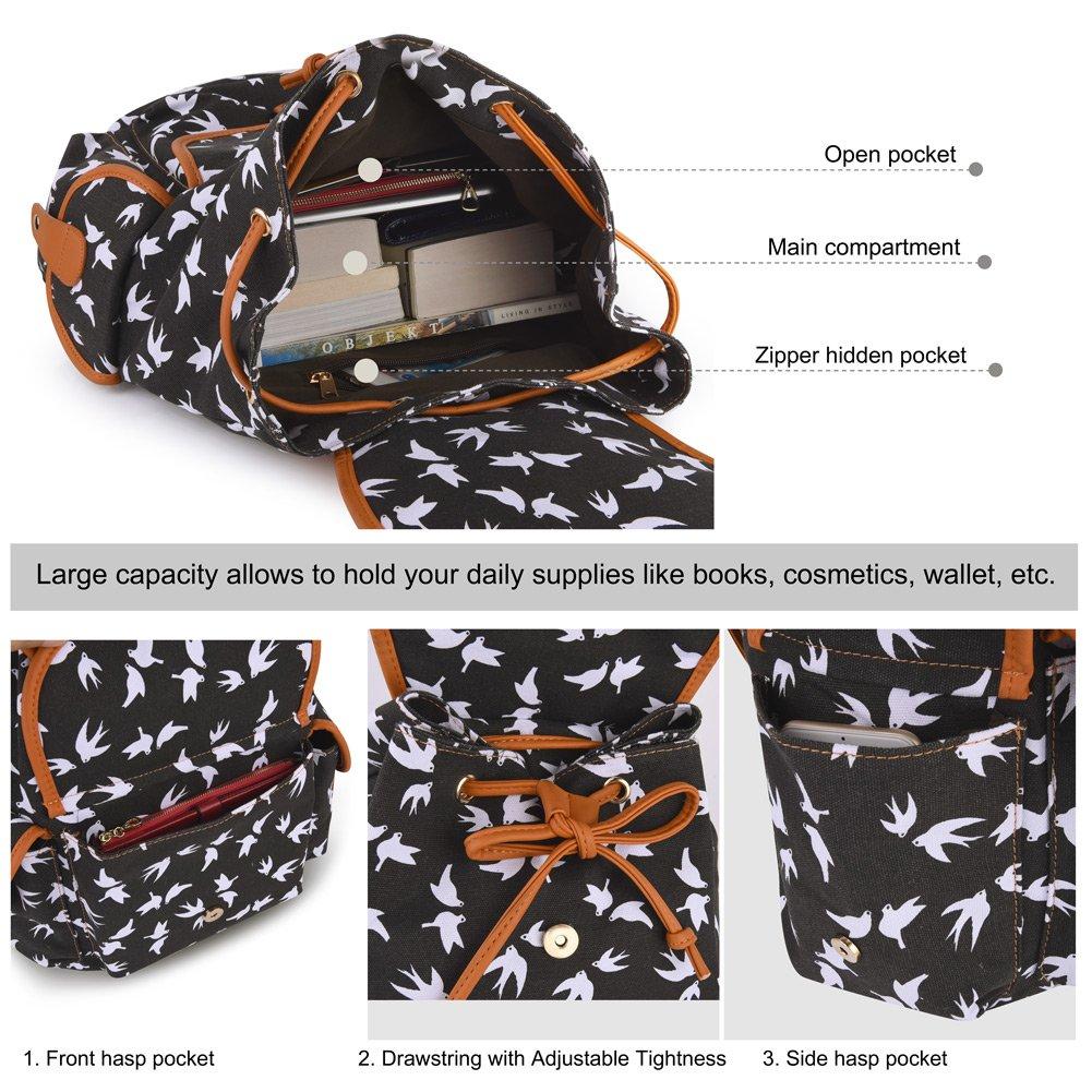 Vbiger Canvas Backpack for Women & Girls Boys Casual Book Bag Sports Daypack (Bird Black) by VBIGER (Image #5)