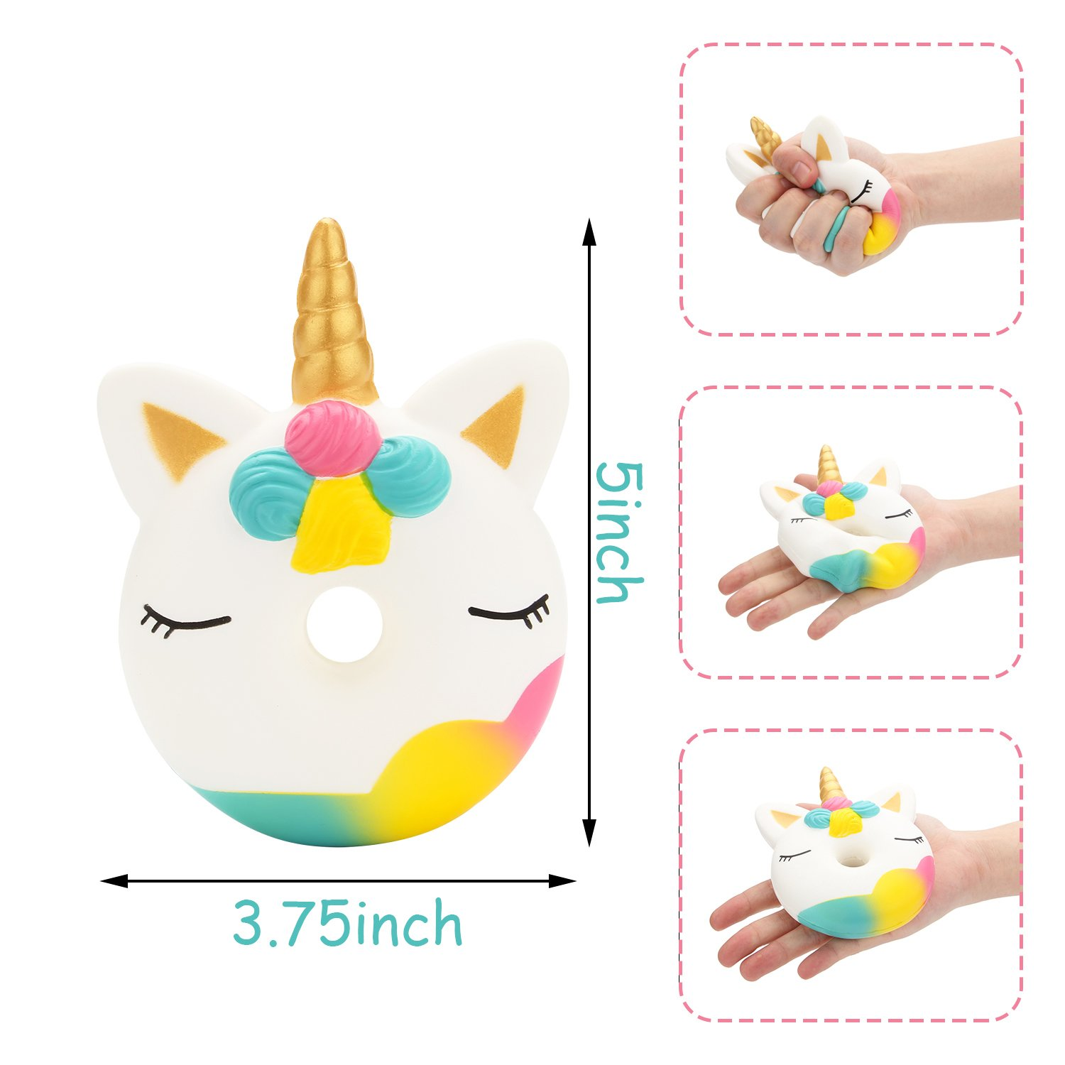 R.HORSE Cute Unicorn Cake, Narwhal Cake, Unicorn Donut Set Kawaii Cream Scented Squishies Slow Rising Decompression Squeeze Toys for Kids or Stress Relief Toy Large (3 Pack)