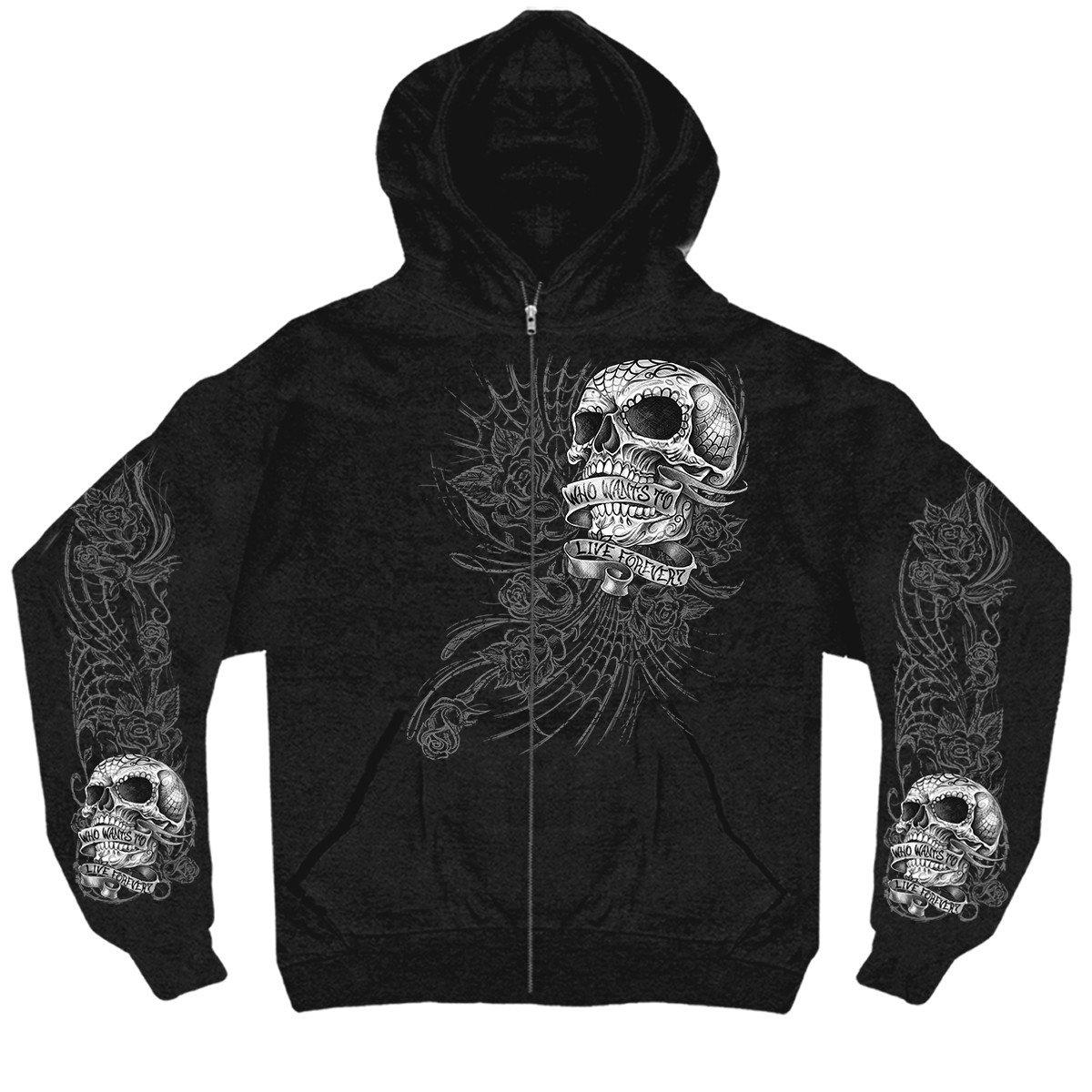 Hot Leathers Mens Sweet Demise Zip Up Hooded Sweat Shirt 12844 Black, XXX-Large