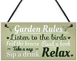 Dadaly Decor Garden Sign Garden Rules Plaque Garden Shed Hanging Decor Waterproof 5 x 10 Inch