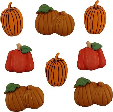 6 pcs Butternut Squash Buttons from the Buttons Galore Pumpkin Pickin/' Embellishment Novelty Button Set
