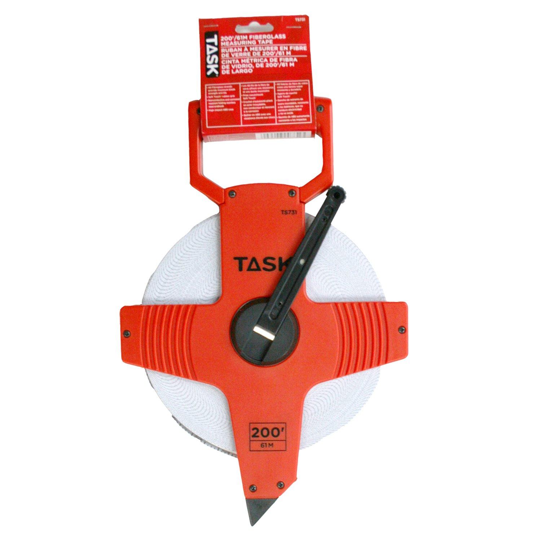 Task Tools TS731 200-Feet Open Reel Fiberglass Tape Measure