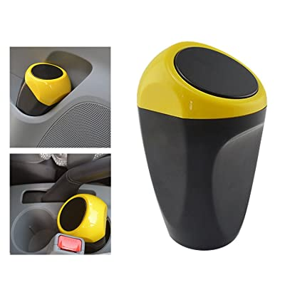 AmFor Car Auto Trash Can, Car Mini Dust Bin Plastic Garbage Can Automotive Waste Storage (Yellow): Automotive