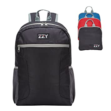423e1fd196e2 ZZY 20L Small Backpack Foldable Rucksack with Ultra Lightweight for Camping  Travel Hiking Daypack (Black