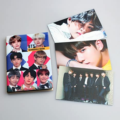 BTS Bangtan Boys NoteBook Scheduler 2018 with BTS Love Yourself Photos 3 Pcs HD prints on both sides. (Group)