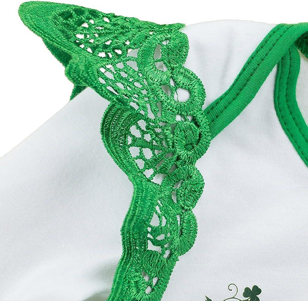 Fairy Baby St Patricks Day Green Costume 5Pcs Baby Girls Bodysuit+Tutu Skirt Shamrock Baptism Outfit