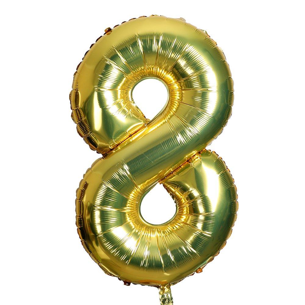 Amazon.com: Smarcy 40 Inch Jumbo Number 8 Balloon Birthday ...