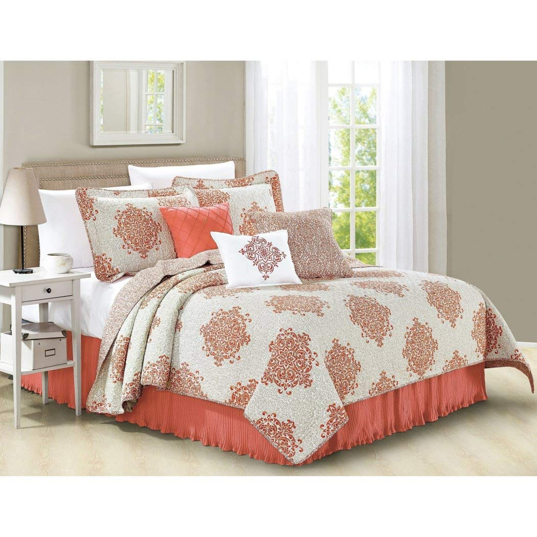 DS 6 Piece Coral Pink Medallion Coverlet Set King Size, Geometric Floral Flower Damask Motif Pattern Flowers Circle Bedding Contemporary Printed Bedroom Bedspread Reversible, Microfiber