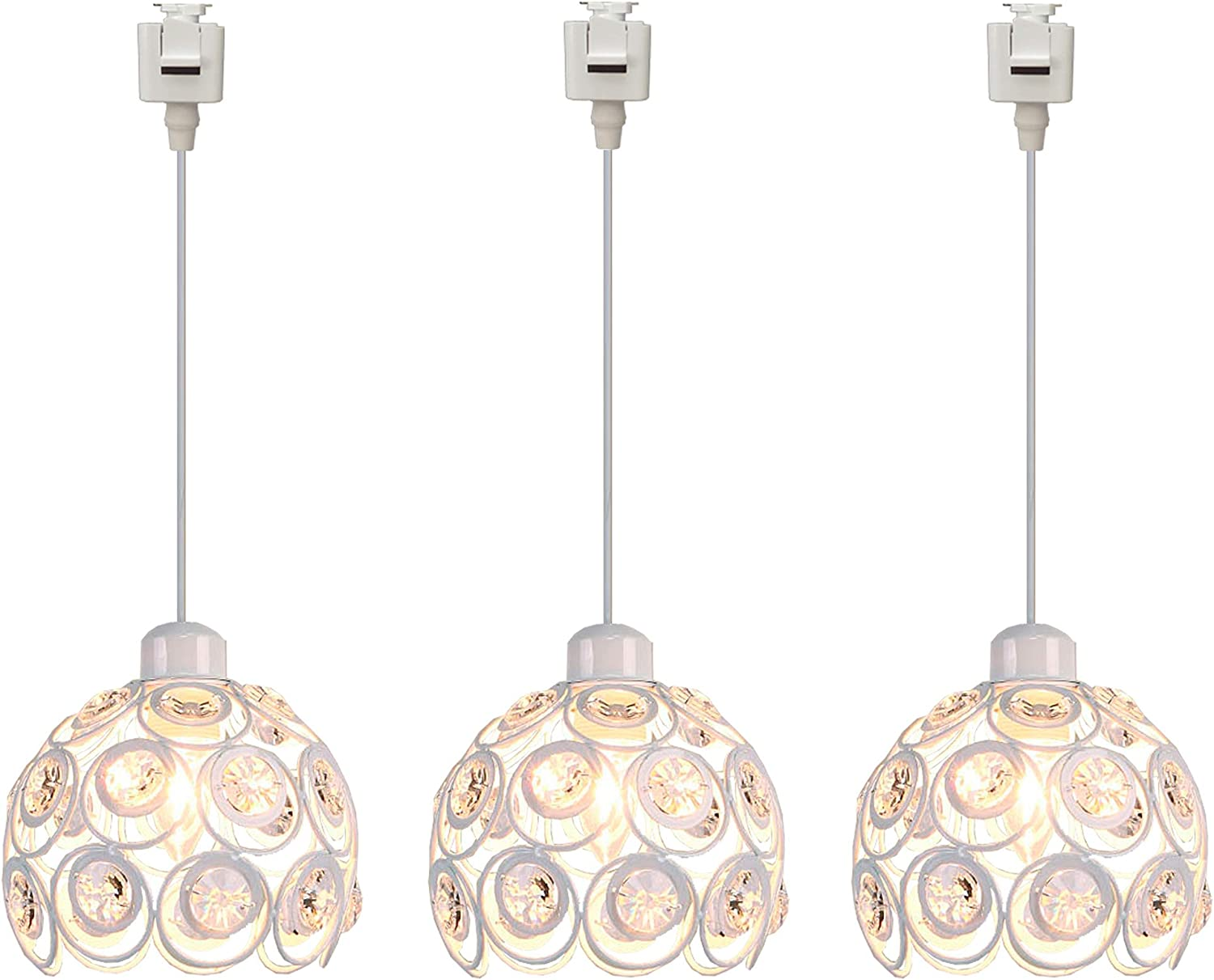 SKIVTGLAMP Dimmable Iron Globe Pendant Light Juno-Type Track Light Gold Modern Clear Crystal Lamp Shade Industrial Vintage Instant on Track Mount Pendant lights for Kitchen Island Customizable 1 Light