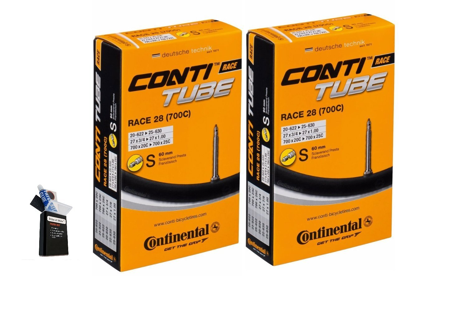 Continental 42MM OR 60MM Presta Valve Bicycle Tube Pack of 2 (2 Pack 42MM, 29 x 1.75-2.5cc) by Bike A Mile