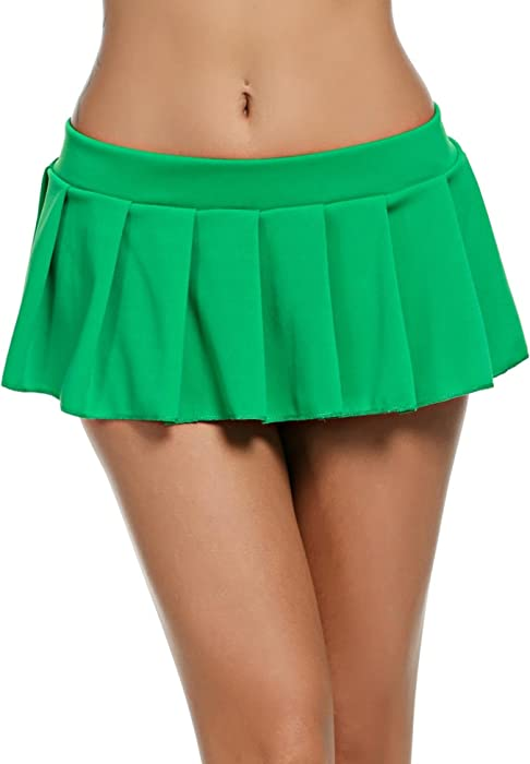 3b3ada884d Loveje Women Sexy Lingerie Mini Skirt Cosplay Roleplay Uniform Solid Pleated  Skirt (XL, Green01