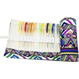 Hz.Codelo Canvas Colored Gel Ink Pens Case Wrap Roll Pouch,Travel Multi-purpose Holder Organizer Hold for 60 Gel Pen,Ultra Fine Permanent Markers (No Pens Included)-Bohemian