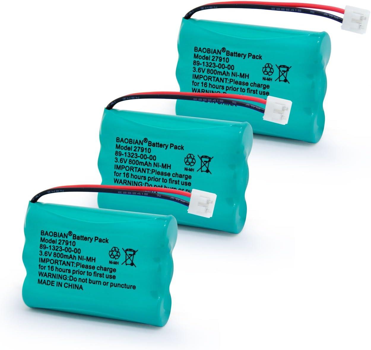 Pack de 3 baterías Recargables 27910 para teléfono V-Tech 89-1323-00-00 Vtech 27910 I6725 Motorola SD-7501 RadioShack 23-959 BAOBIAN: Amazon.es: Electrónica