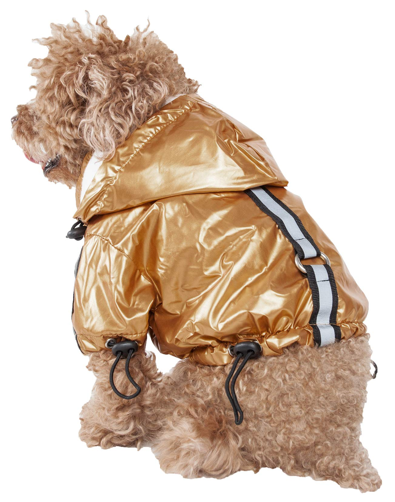 Pet Life Reflecta-Sport' Fashion Insulated Adjustable and Reflective Windproof Water-Resistant Pet Dog Coat Jacket Rainbreaker w/Removable Hood, Small, Mustard Yellow