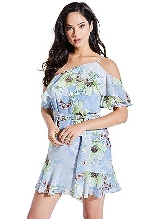 32fb7193746a GUESS Women's Elana One-Shoulder Floral Dress at Amazon Women's ...