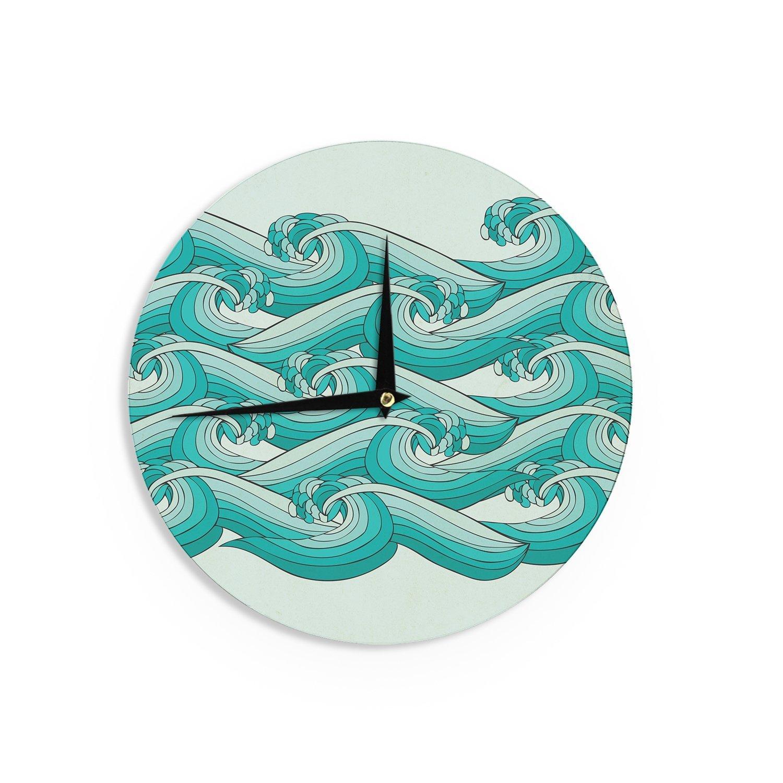 12-Inch Kess InHouse Pom Graphic Design Ocean Retro Vibes Green Teal Wall Clock
