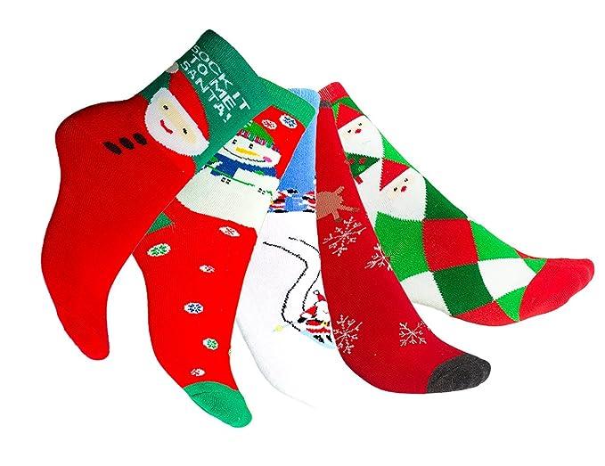 ab867985c Amoretu Colorful Merry Christmas Stockings Funny Ugly Christmas Socks 5  Pairs
