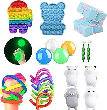 iSayhong Sensory Fidget Toys Set, verlicht stress en angst Fidget speelgoed voor kinderen volwassenen, kubus Top Toy Set, speciaal speelgoed assortiment voor verjaardagsfeestje gunsten