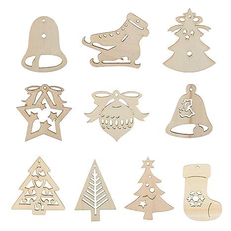 3f36c71fe3a0 Kesote 30 Adornos Colgantes de Madera para Árbol de Navidad 21 Piezas de  Arranque + 9
