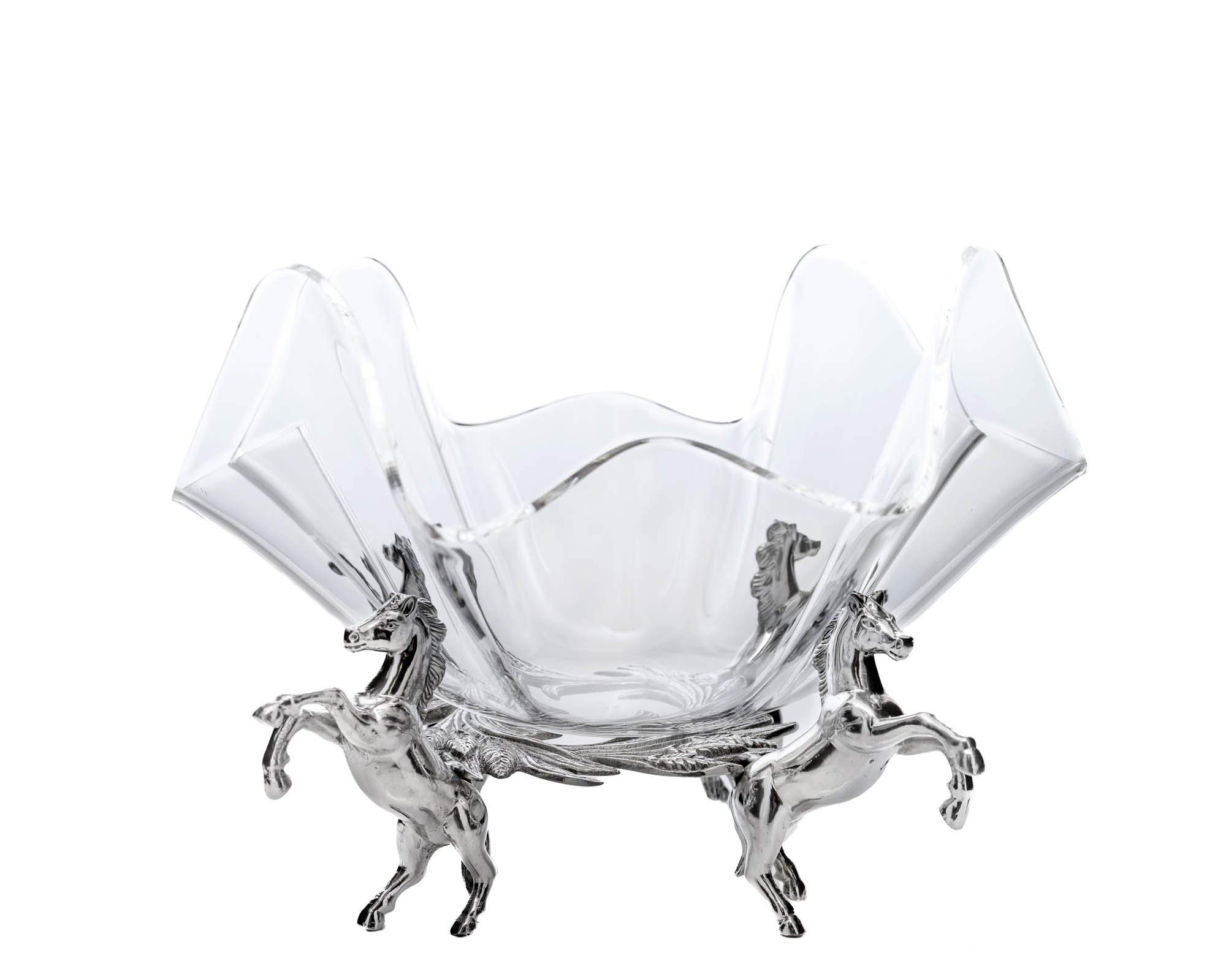 Arthur Court Designs Aluminum Metal Horse Stand with 11'' Acrylic Serving Bowl