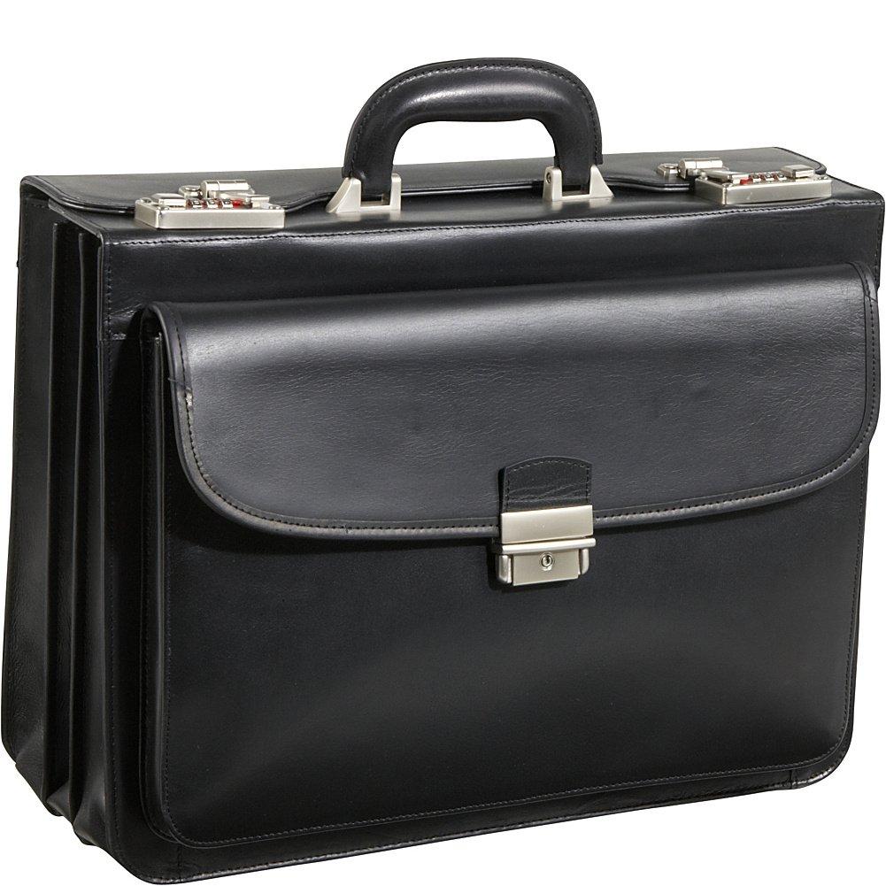 AmeriLeather Modern Attache Leather Executive Brief (Black)