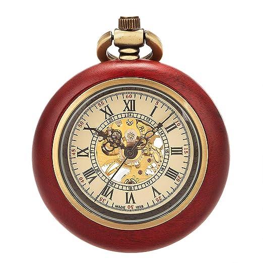 ManChDa Reloj de Bolsillo Vintage Madera Mecánico Mano-Viento Reloj de Bolsillo Steampunk Números Romanos Reloj Fob para Hombres Mujeres con Cadena + Caja ...