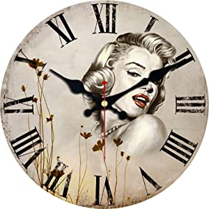 MEISTAR 16 Inch Big Home and Office Decor Wall Clock,Super Large Numerals Easy to Read Wall Clocks,Silent Non Ticking Marilyn Monroe Design Wall Clock