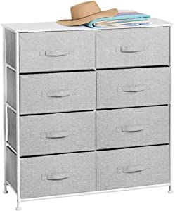 mDesign Vertical Dresser Storage Tower - Sturdy Steel Frame, Wood Top, Easy Pull Fabric Bins - Organizer Unit for Bedroom, Hallway, Entryway, Closets - Textured Print - 8 Drawers - Gray