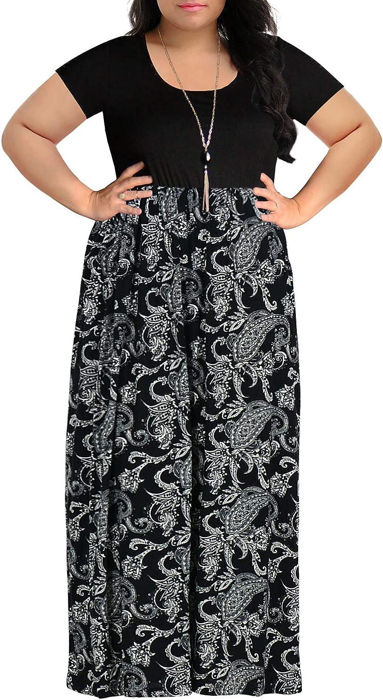 Nemidor Women\'s Chevron Print Summer Short Sleeve Plus Size Casual Maxi  Dress