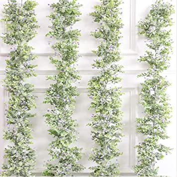 12Pcs 6.4ft Artificial Ivy Vine Leaf Garland Hanging Vine Plants Fake Greenery Ivy Garland for Wedding Party Home Garden Kitchen Wall Office Outdoor Decor