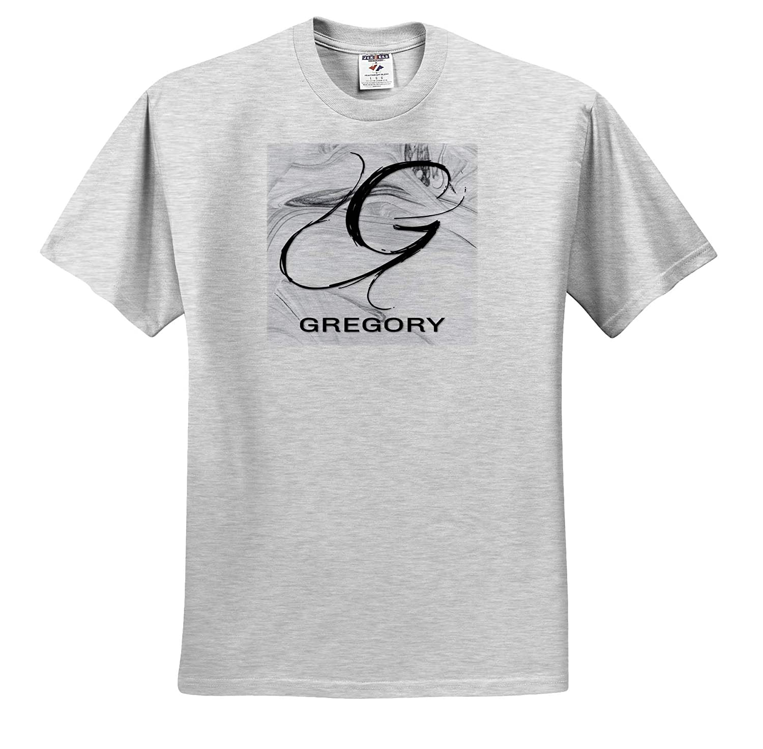 3dRose BrooklynMeme Monograms T-Shirts Gregory White Marble Monogram G