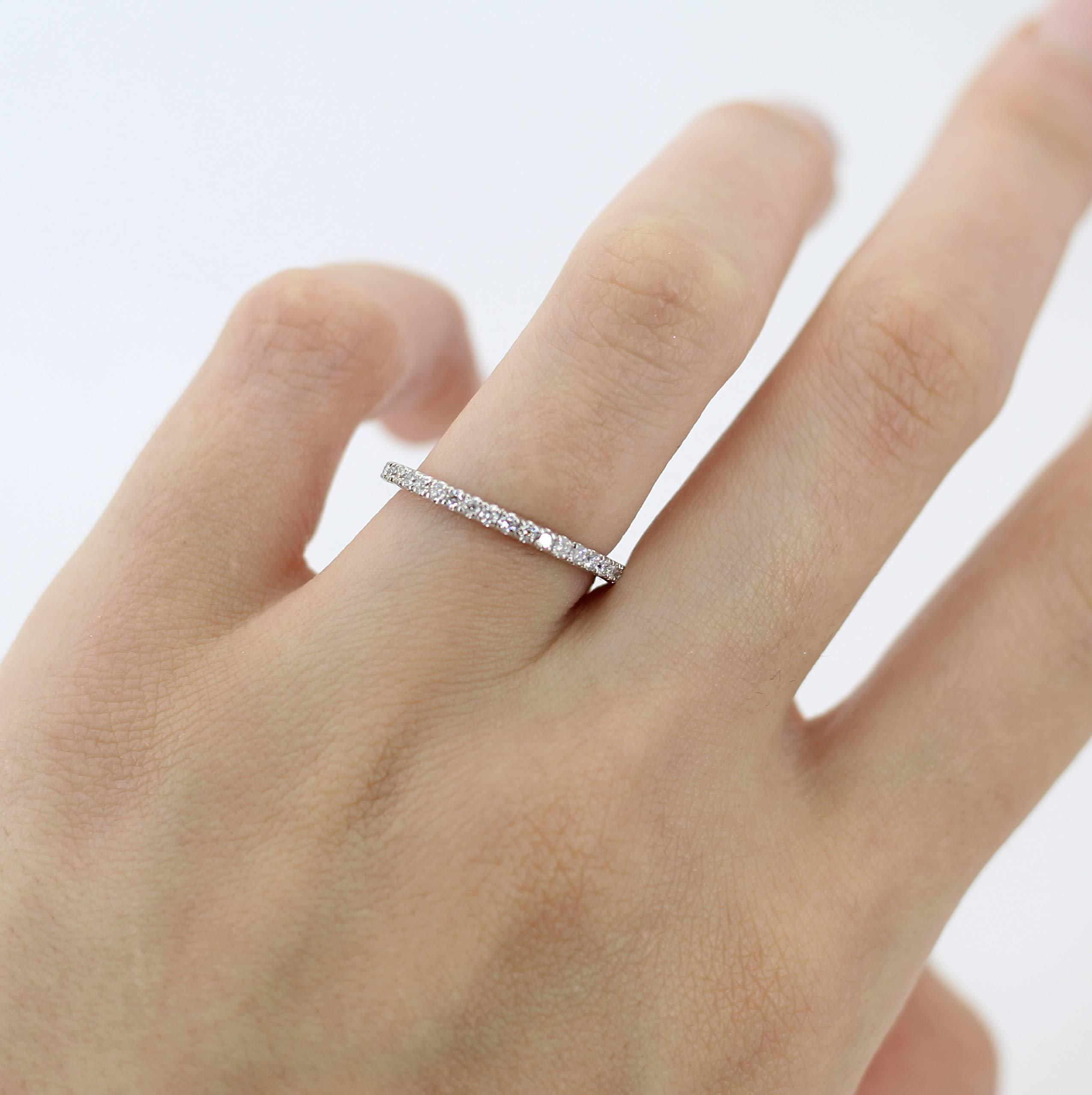 Diamond Eternity Wedding Band for Women Pave Set Diamond Bridal Ring in Palladium