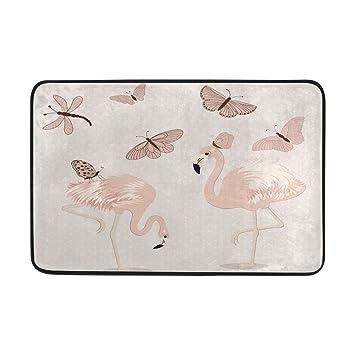 Amazon De Badteppich Pink Flamingo Schmetterling Fun Print