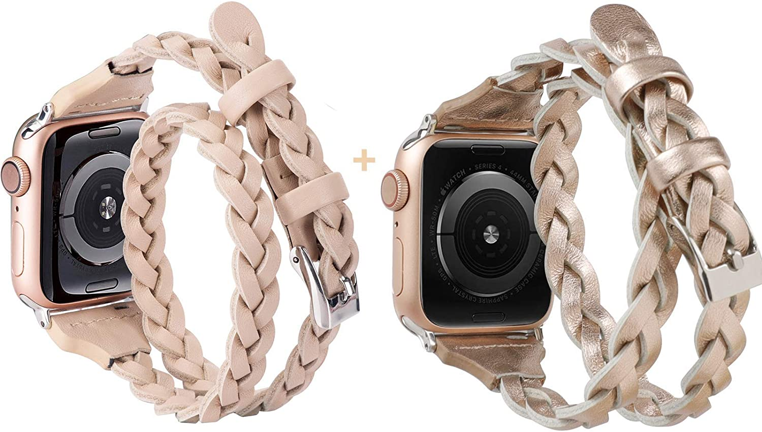 Moolia Double Leather Band Compatible with Apple Watch 38mm 40mm, Women Girls Woven Slim Leather Watch Strap Double Tour Bracelet Replacement for iWatch Series 6 5 4 3 2 1/SE