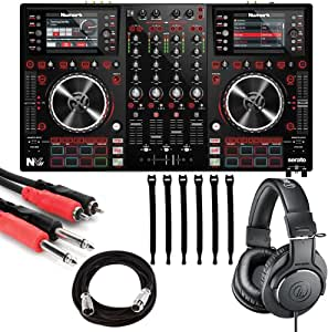 Numark NVII | DJ Controller for Serato DJ with Intelligent Dual-Display Screens & Touch-Capacitive Knobs + ATH-M20x Headphones + Stereo Interconnect Cable + Mic Cable + Strapeez - Top Value Bundle!